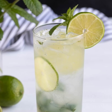 Front closeup view of a non-alcoholic mojito garnished with lime and a mint sprig.